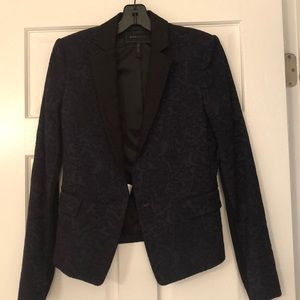 navy and black lace blazer
